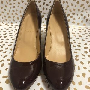 J.crew brown patent leather wedge pump 7.5